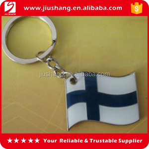 Custom design flag shaped metal detachable key rings for promotion