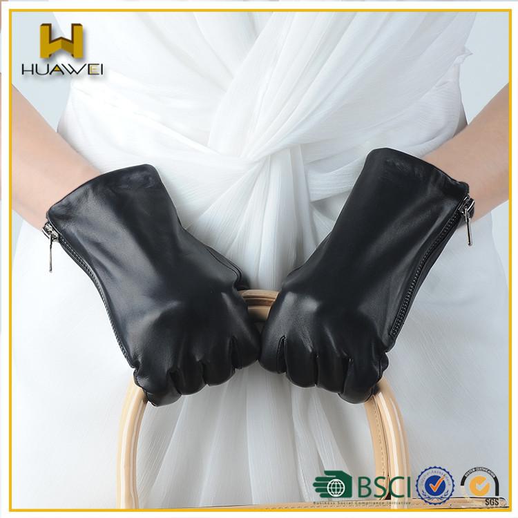 Classical Black Women/men Zipper Leather Gloves With Premium ...