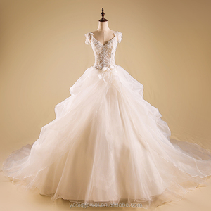 Hot Sale Factory Custom Made Long Good Quality Tulle Crystals Pearl Ball Gown Wedding Dress