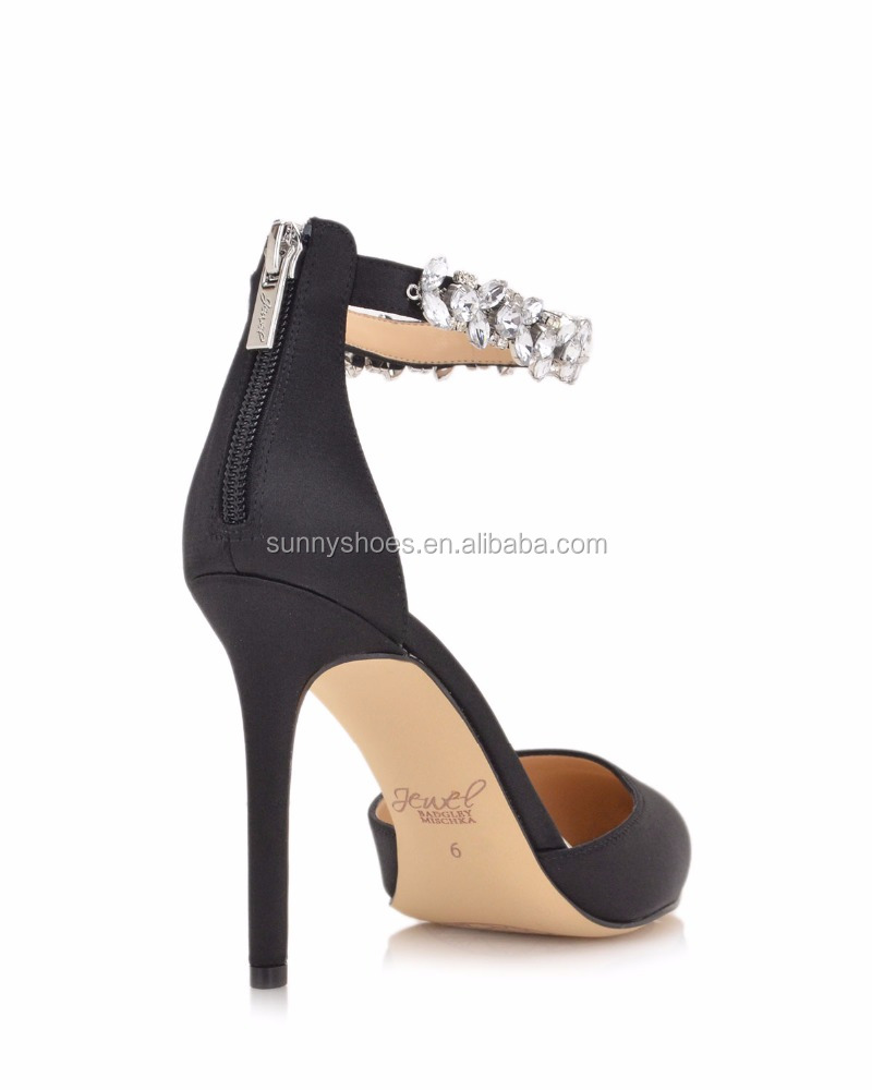 european toe ankle party shoes pointed wedding strap rhinestone ladies fashion pumps vY0Unzx