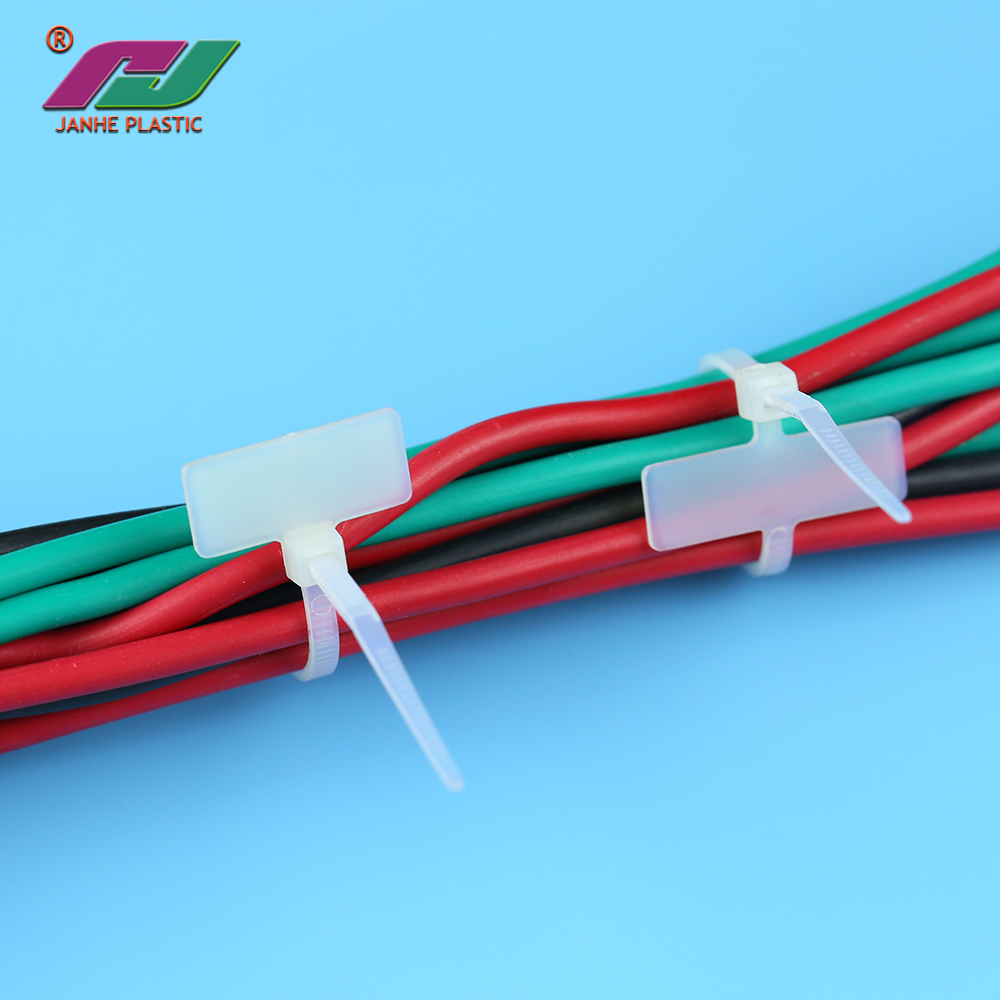 JANHE factory price plastic nylon cable zip ties tags