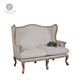 Antique Provincial Style Beige Fabric Oak Wood Wing back Furniture Living Room Sofa