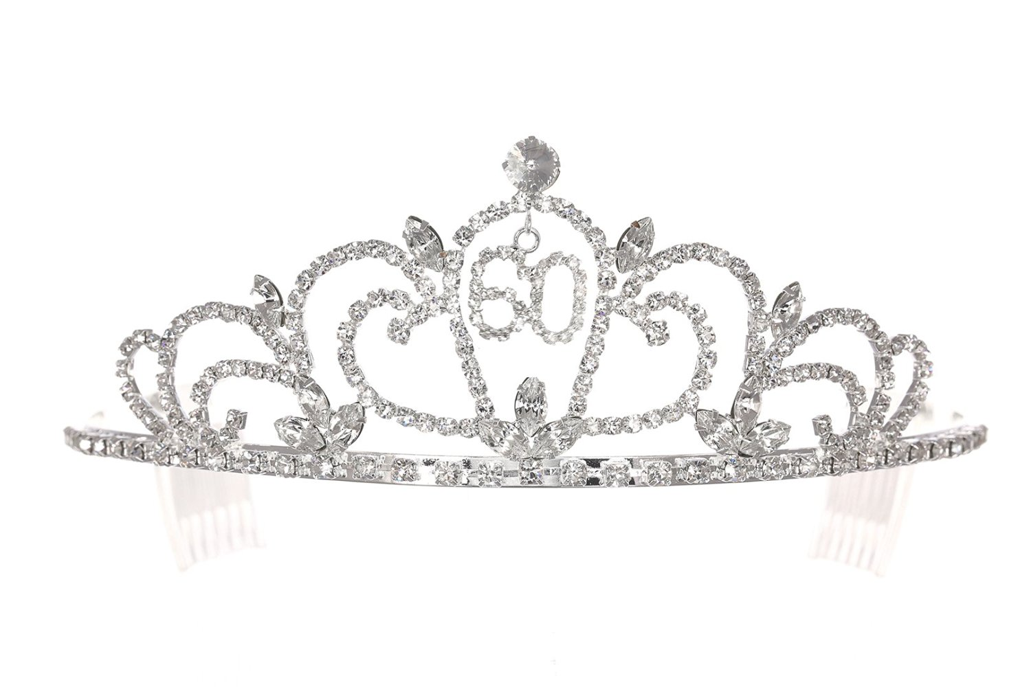 Birthday Party Rhinestone Crystal Tiara Crown - 60th Sixty Sixtieth T1170