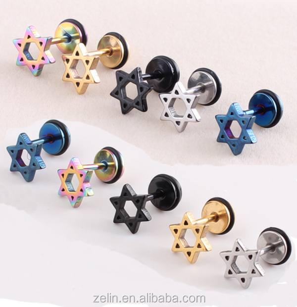Fashion body piercing jewelry anodized titanium double triangles fake ear plug ear expander