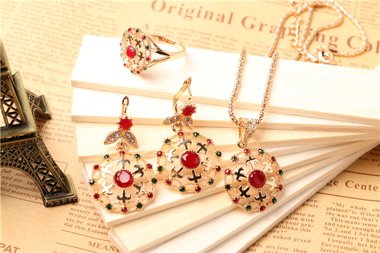 Vintage Silver Gold Ruby Rani Haar Jewelry Set,Necklace Ring Earrings Set -  Buy Rani Haar Jewelry Set,Vintage Jewelry Set,Ruby Jewelry Set Product on