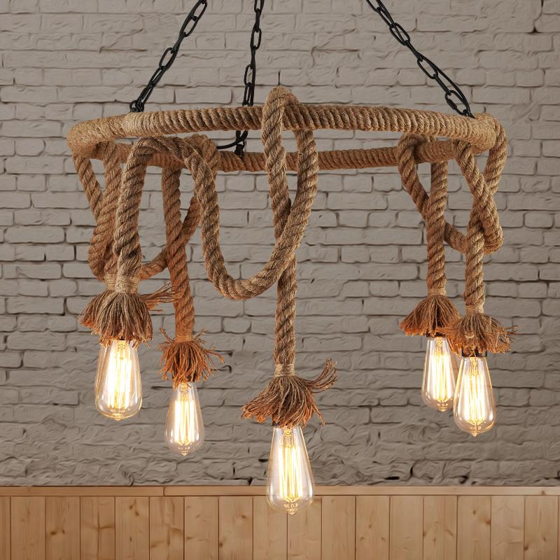 lampara rope vintage pendant lights retro industrial edison lamps nordic loft light fixtures. Black Bedroom Furniture Sets. Home Design Ideas