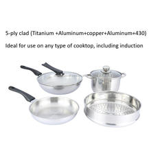 5-ply clad luxury waterless stainless steel titanium cookware