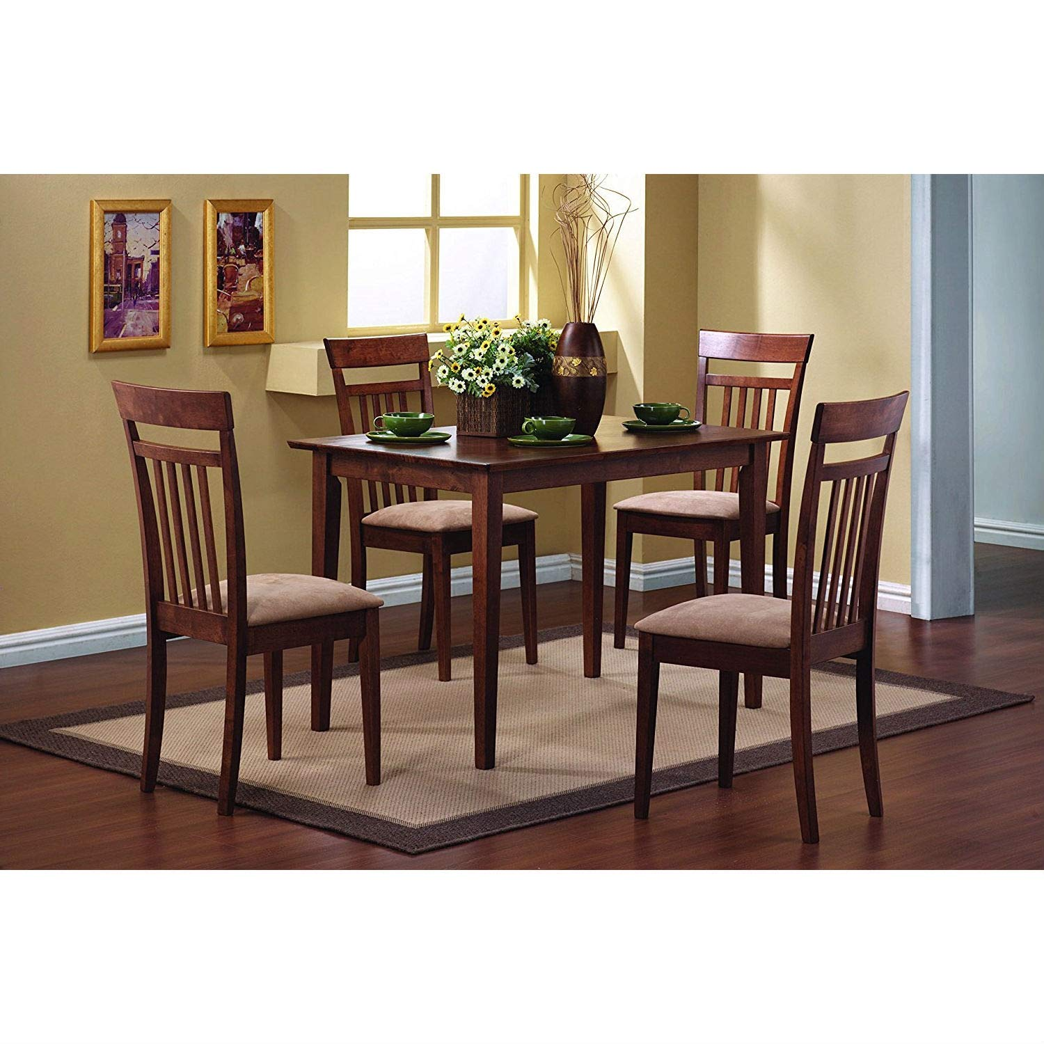 BeUniqueToday Classic 5-Piece Dining Set with Rectangular Table and 4 Chairs in Chestnut Wood Finish, Rectangular Table with Straight Clean Lines, and Square Tapered Leg, Crafted from Asian Hardwood