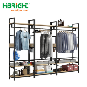 clothing store wooden and steel display rack