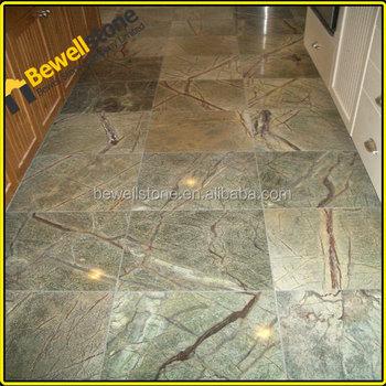 Custom Design Rainforest Green Marble BathroomHoned 18x18