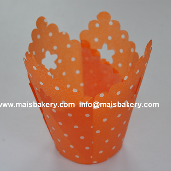 Custom europe paper orange polka dots tulip muffin liners