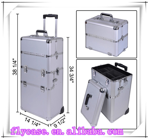 best aluminum makeup trolley case for tools with divider inside