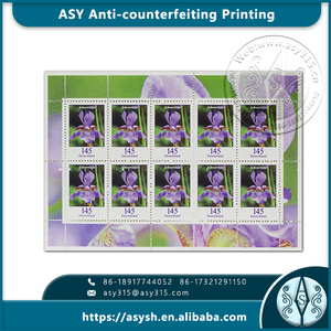 Top quality postage stamp label with small holes security paper material and die-cut