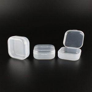 20g square shape small storage box plastic containers with lid portable PP clear bin pill capsule medicine organizer clay holder