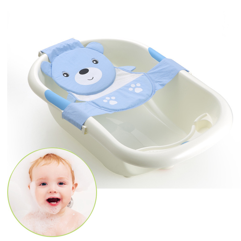 Adjustable Cartoon Newborn Baby Bathtub Sling Bath Seat Kneeler Mat ...