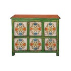 Chinese antique six doors Tibet Cabinet vintage hand painted tibetan cabinet furniture