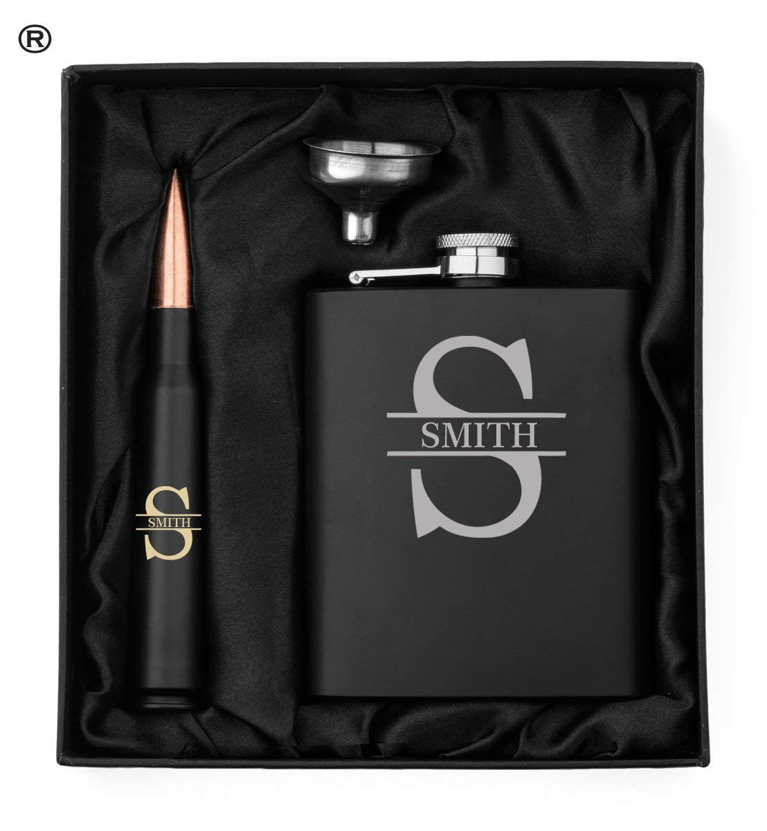 Monogram Initial Engraved Hip Flask, Funnel and 50 Caliber Bullet Bottle Opener Matte Black Gift Box 50 Cal Custom Personalized