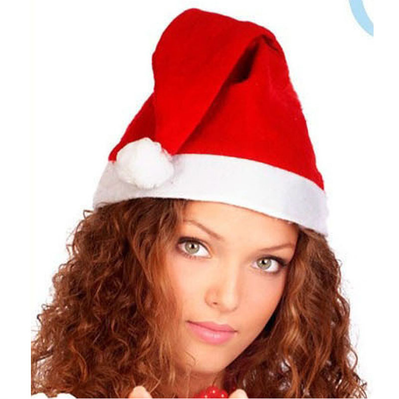 Free shippinng Christmas Cap Thick Ultra Soft Plush Santa Claus Christmas Holiday Hat 12PCS /Lot