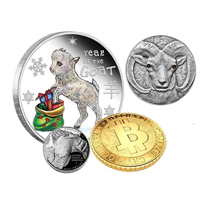 Presidential 40mm metal engraved pad printing sheep design pure silver petal edged polished silver souvenir coins