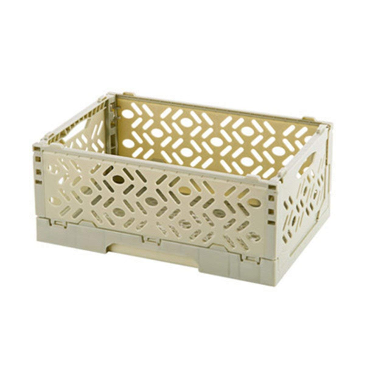 Foldable Storage Organizer Box Tier Stackable Carved Hollow Desk Tray desk Storage box Collapsible Stackable Green