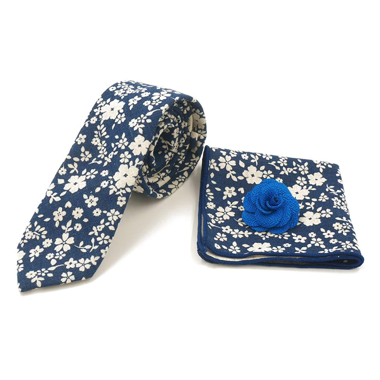 da5e60353d91 Get Quotations · Sunny Home Men's Cotton Printed Floral Necktie,Pocket  Square,Lapel Flower Set Skinny Ties