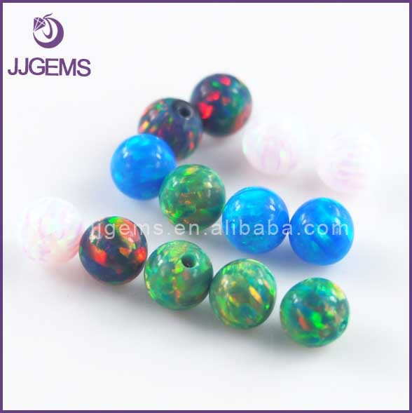 Lab created synthetic various color half drilled hole opal ball bead