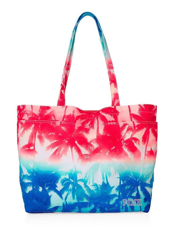 2ae96b3d4f39f1 Get Quotations · Victoria s Secret PINK Tote Bag Beach Bag Palm Trees
