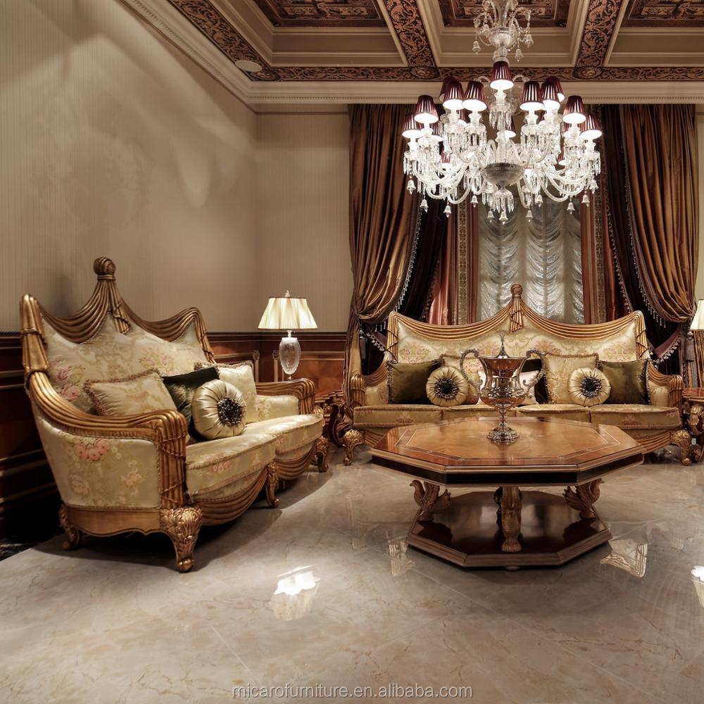 Design Exclusif De Couleur Doree De Style Classique Salon Royal