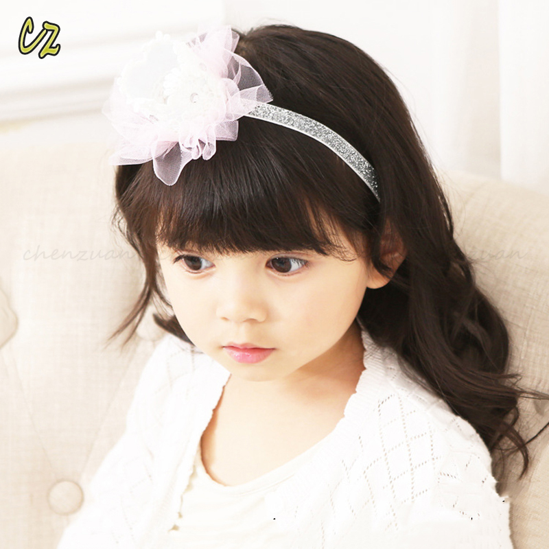 New fashion hair accessories lily flower elastic headband ribbon style for kids