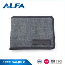 Alfa Free Samples Fashion Canvas And PU Leather Custom Printed Wallets With Logo Patch