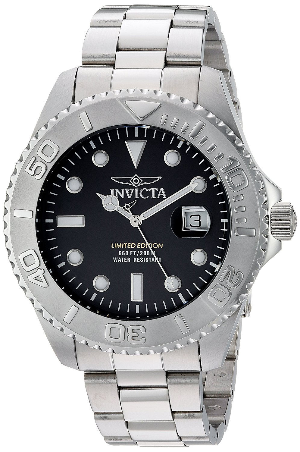 Invicta Men's 'Pro Diver' Quartz Stainless Steel Diving Watch, Color:Silver-Toned (Model: 24622)