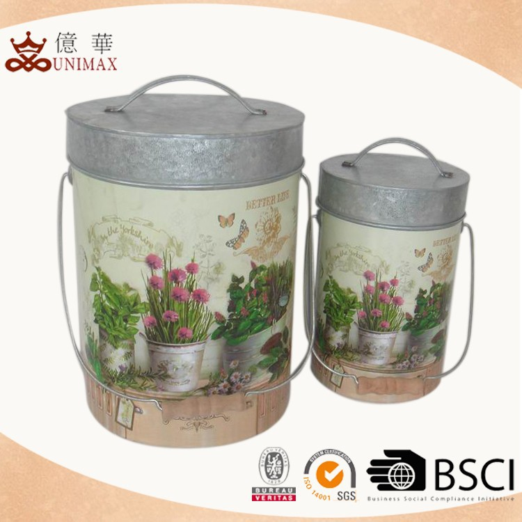 Beautiful decal kitchen canister with metal lid for home decotation