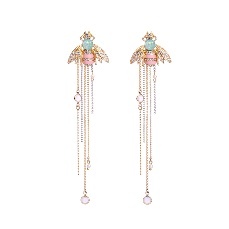 Artilady Female fashion lady accessories jewelry crystal bee long tassel <strong>earring</strong>,Gemstone Pendan fringe <strong>earring</strong>