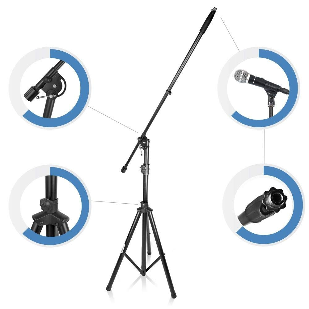 Pyle PMKS46Strongest HIgh Performance Adjustable Microphone Suspension Boom Stand|Tripod Mic Stand Mic Adapter & Clamp- Stage,Karaoke Studio,Durable Steel Easy Foldable Height from 51.0''- 90.5'' by