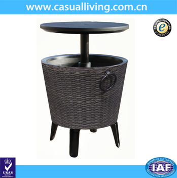 New Design Pe Wicker Plastic Round Cooler Table Ice Drink Buckets