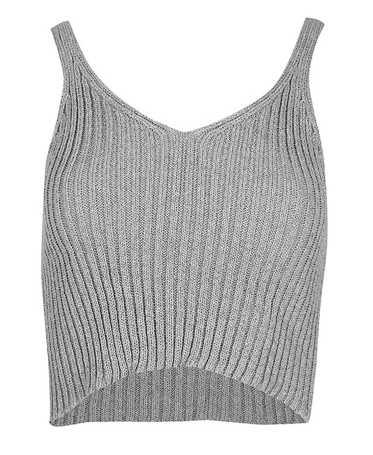 87ab61f33fa Get Quotations · MA ONLINE Ladies Metallic Knitted Ribbed Lurex Crop Top  Womens V Neck Sleeveless Vest Top US