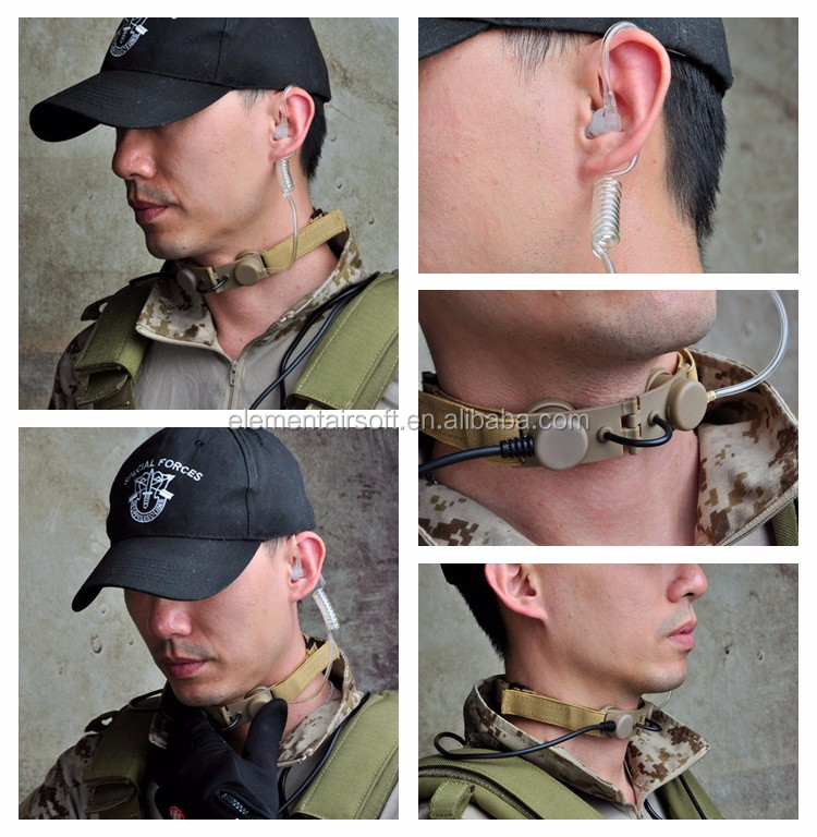 OEM Z-TAC Transparent Tube Tactical Throat Mic Waterproof Earphone Mic Airsoft Throat Headset