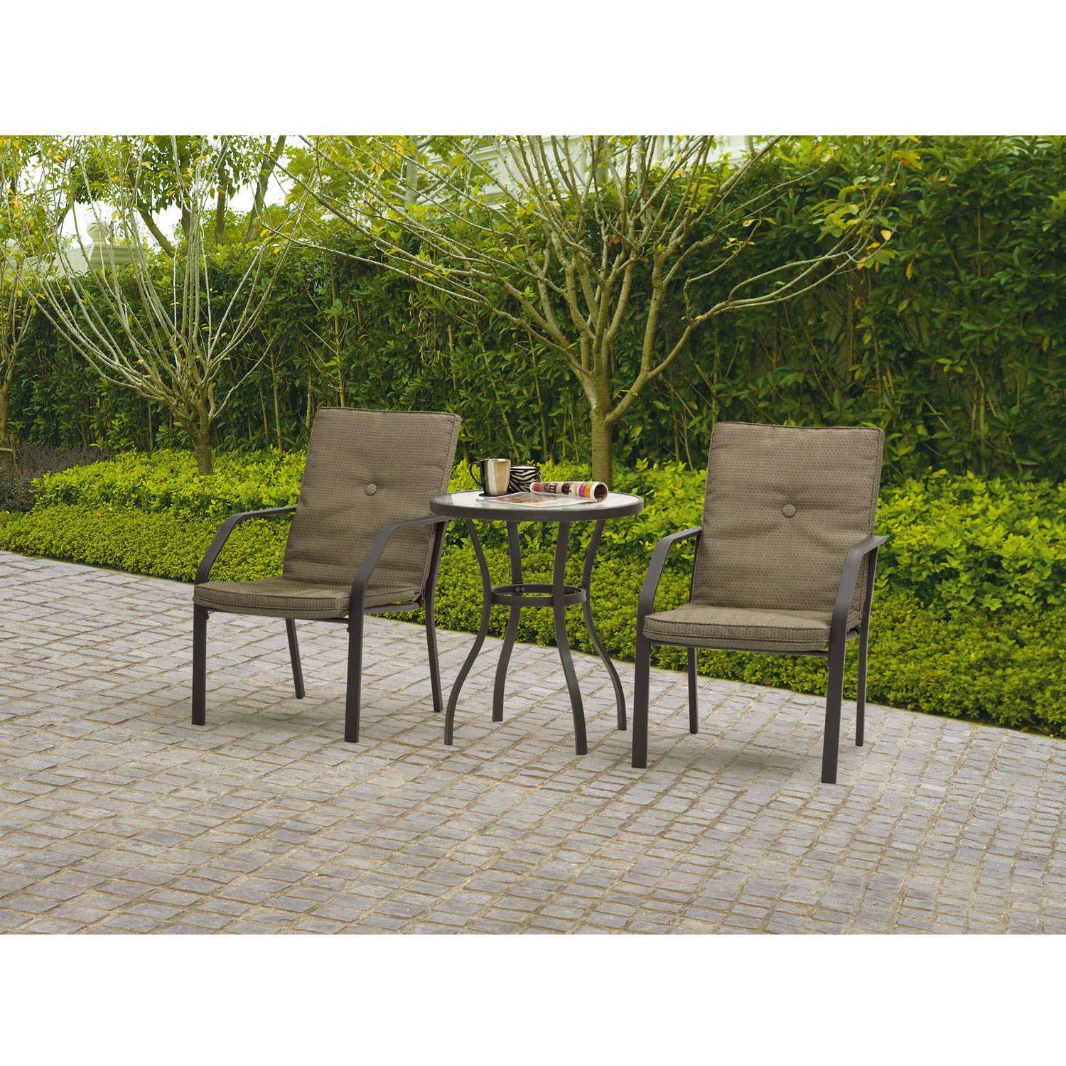 Comfortable Three Piece Patio Bistro Set, Durable, Powder Coated Steel Frames, 100 Percent Outdoor Printed Fabric, Tempered Glass Table Top, Removable Cushion, Deep Tan Finish + Expert Guide