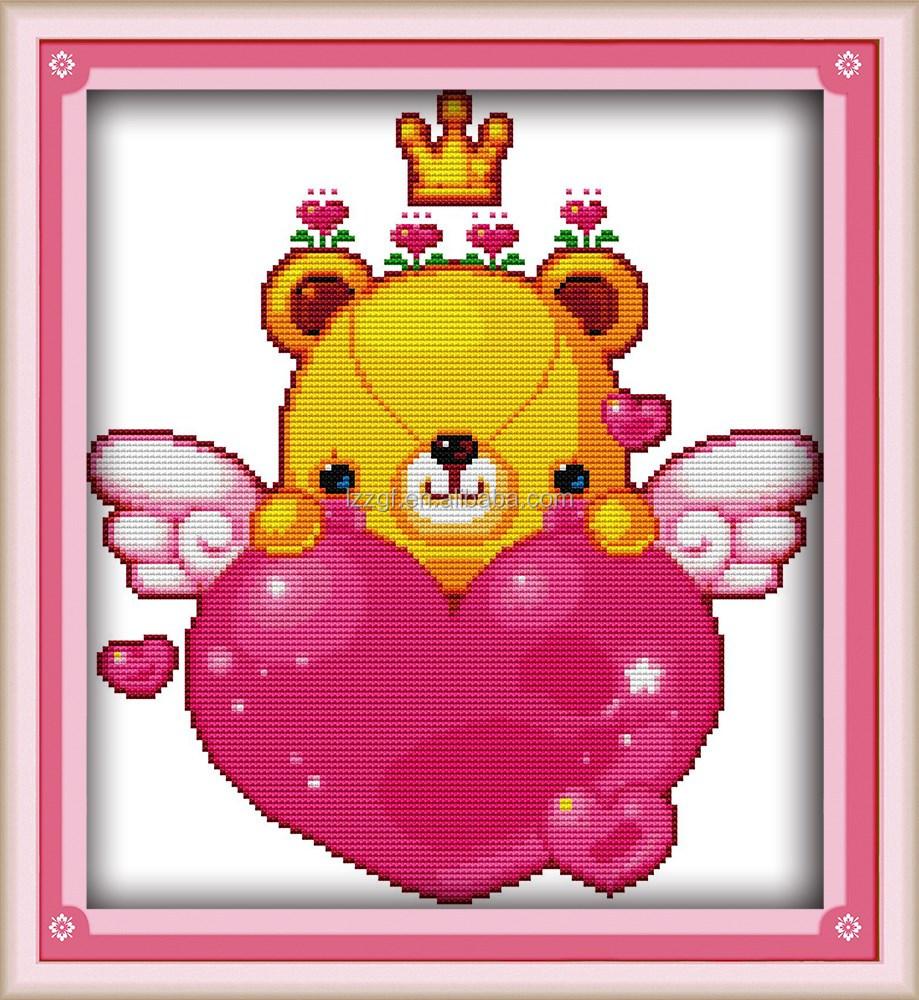 Lucu Cinta Beruang Kartun Gaya Tangan Kerajinan Kecil Cross Stitch