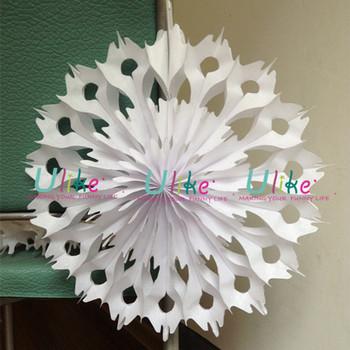 christmas snowflake white paper folding fans decorative paper fans