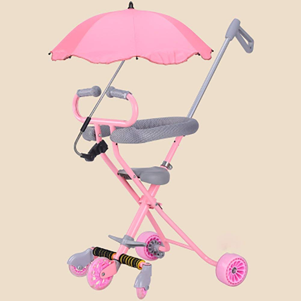 Tricycle Children Foldable Slippery Baby Artifact Trolley With Umbrella Car 5 Wheel Anti-rollover Trike Outdoor Toy Car Lightweight Color Optional