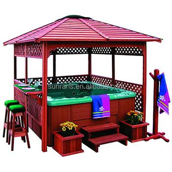 hot vente en plein air bain remous bois gazebo utilis. Black Bedroom Furniture Sets. Home Design Ideas