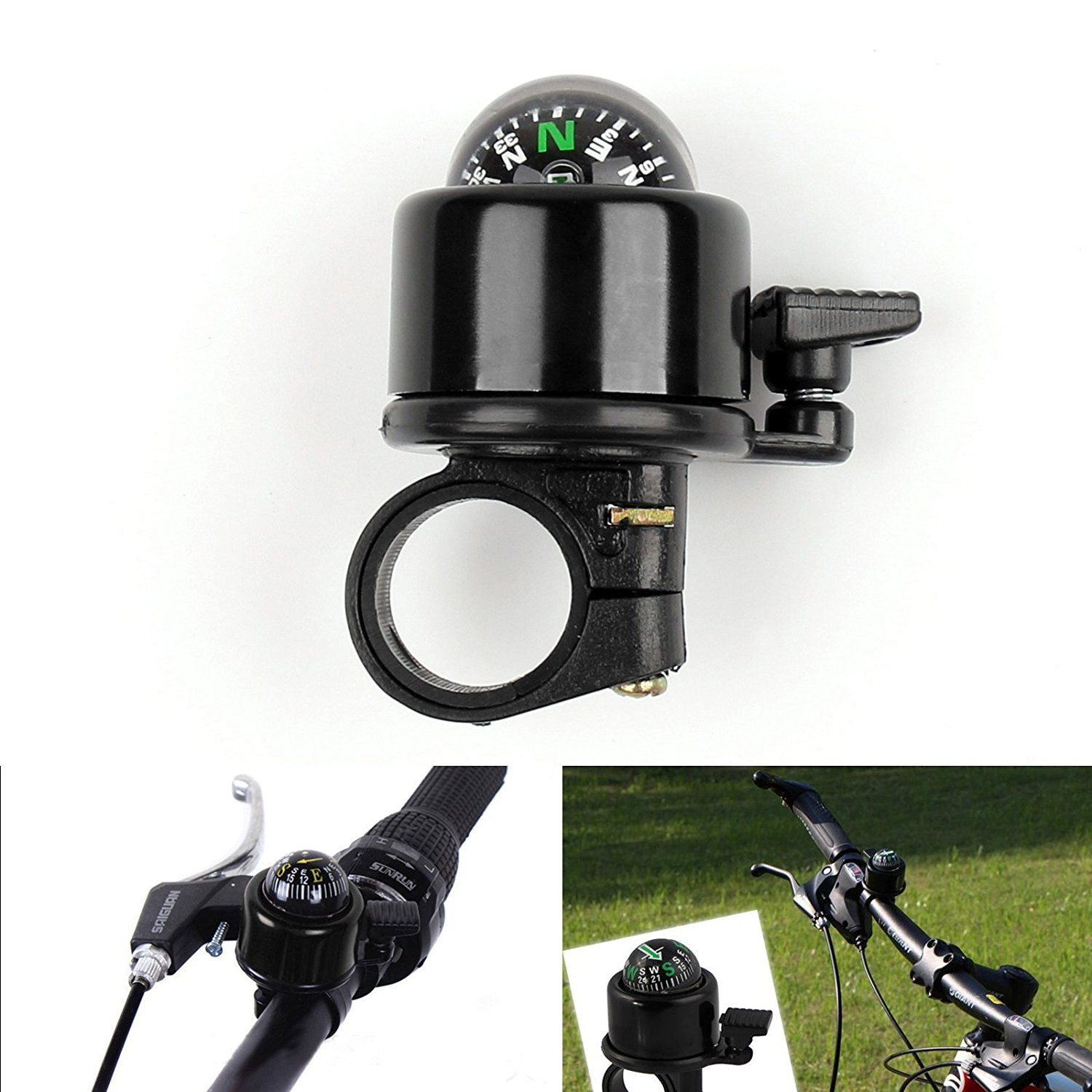 Areyourshop 22mm Small Mini Bike Cycling Bicycle Ring Bell Compass Ball Black