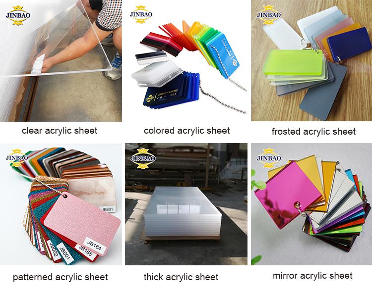 JINBAO gebruikt 10mm 4 8 voeten 4ft x 8ft 4'x8' 4x8 goedkope gekleurde Clear perspex pmma acryl glas plexiglas plaat