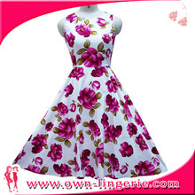 China fabriek Vintage Retro Swing 50 s bloemen bloem <span class=keywords><strong>Rockabilly</strong></span> Party Swing <span class=keywords><strong>jurk</strong></span>