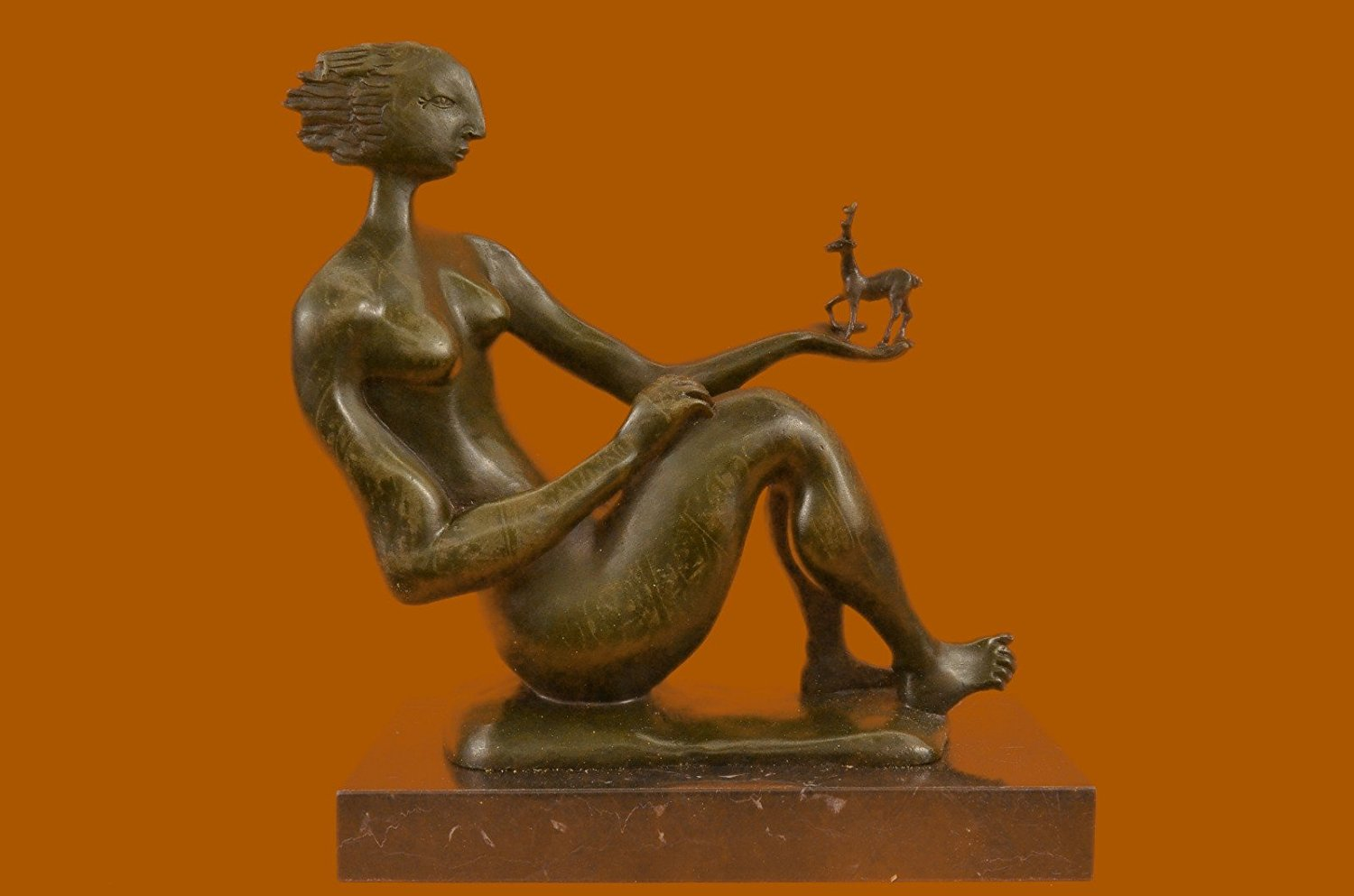 ...Handmade...European Bronze Sculpture Signed Abstract ative Female Marble Base Modern (DS-475-UK) Bronze Sculpture Statues Figurine Nude Office & Home Décor Collectibles Sale Deal Gifts