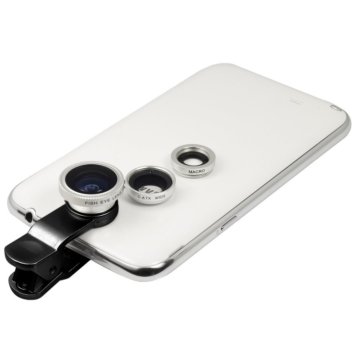 Silver Universal Clip-on 180 degree 3 in 1 Fisheye+Wide Angle+Macro Camera Lens Kit for iPhone 5 5S 4 4S 6 Samsung Galaxy S5/S4/S3 Note 4/3/2 HTC Blackberry Bold Touch, Sony Xperia, Motorola Droid