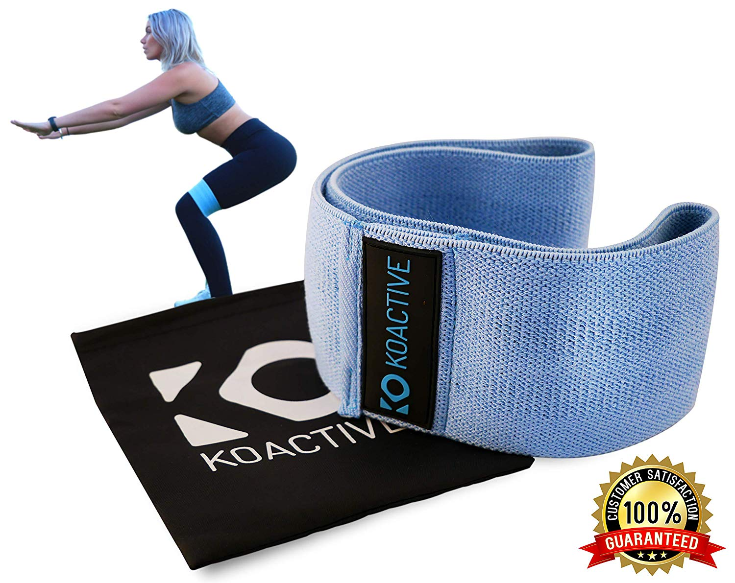 koactive Resistance Hip Band Circle – Premium Non-Slip & Soft High Level Resistance Band – Compact Bootie Shaping Workout Flexor – Full Dynamic Exercise Strengthening Stripe with Free Black Carry Bag