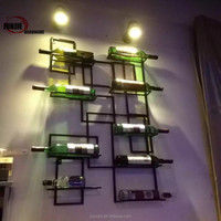 High quality sturdy wire antique wall mounted red wine display rack