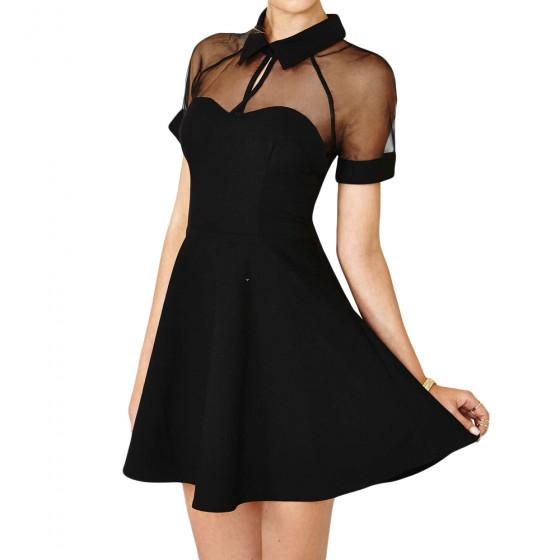 229f7717bb Get Quotations · Summer Sexy Women Mini Dress Mesh Cutout Sweetheart  Neckline Short Sleeve Skater Dress Black